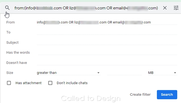 Search filter from the inbox
